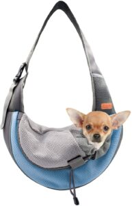 BELPRO Pet Sling Carrier for Small Dogs, Cats and Puppies, Breathable Mesh Pet Front Hands-Free Bag with Adjustable Shoulder Strap for Outdoor and Travel