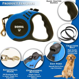 Bonna Retractable Dog Leash for Medium Small Dog