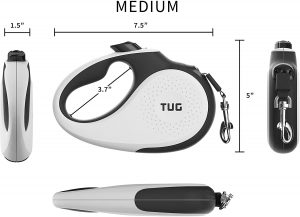 TUG Patented 360° Tangle-Free, Heavy Duty Retractable Dog Leash for Up to 110 lb Dogs